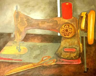 Grandma Sewing Machine Poster by Isaac Alcantar