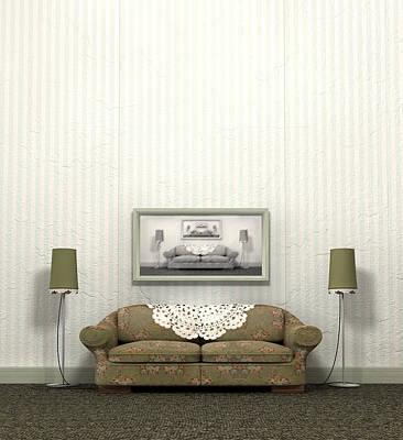 Grandmas Old Sofa Poster by Allan Swart