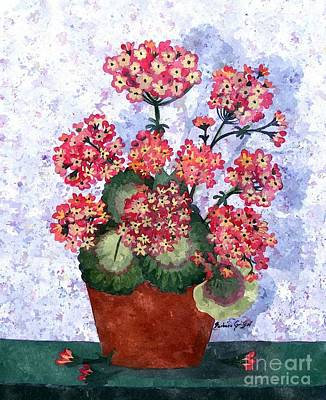 Grandmothers Geraniums In Watercolor Poster by Barbara Griffin