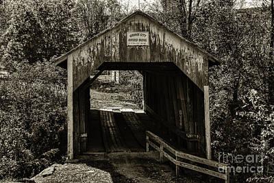 Grange City Covered Bridge - Sepia Poster