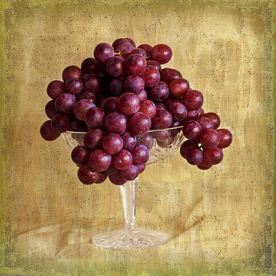 Poster featuring the photograph Grapes And Crystal Still Life by Sandra Foster