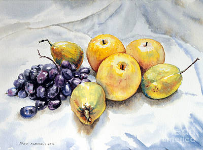 Poster featuring the painting Grapes And Pears by Joey Agbayani