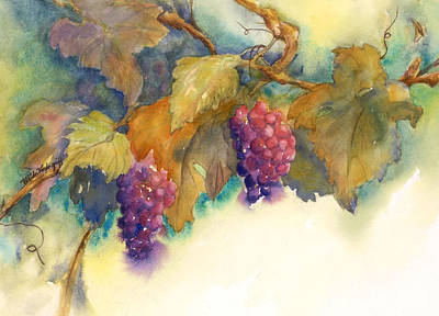 Grapes Poster by Hilda Vandergriff