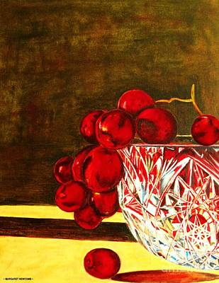 Grapes In A Crystal Bowl Poster by Margaret Newcomb