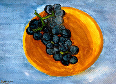 Grapes In Bowl Poster by Larry Farris