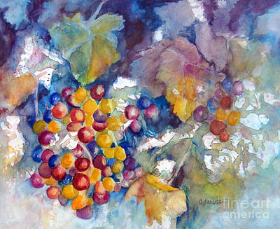 Grapes On The Vine Poster by Carolyn Jarvis