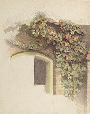 Grapevines On A Brick House, 1832 Pencil And Wc On Paper Poster