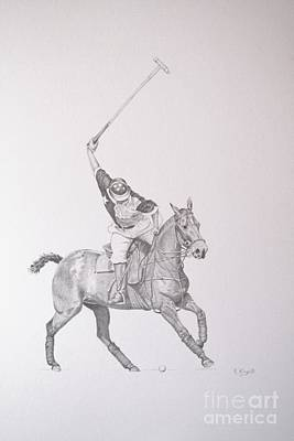 Graphite Drawing - Shooting For The Polo Goal Poster