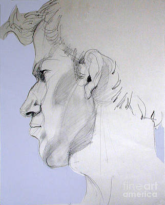 Poster featuring the drawing Graphite Portrait Sketch Of A Young Man In Profile by Greta Corens