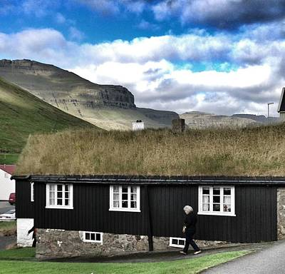 Grass Roof House In Faroe Islands Poster