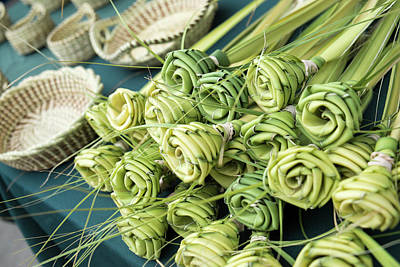 Grass Woven Roses For Sale At Market Poster by Julien Mcroberts