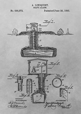 Grave Alarm Patent Drawing Poster by Dan Sproul