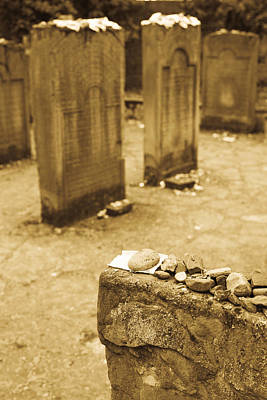 Gravestone At Old Jewish Cemetery Poster by Panoramic Images
