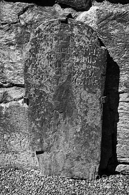 Gravestone Inside The Cathedral At Glendalough Dennis Died In 1741 Aged 60 Years Poster by Joe Fox