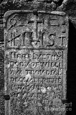 Gravestone Inside The Cathedral At Glendalough William Troy Poster by Joe Fox
