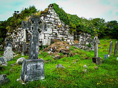 Graveyard And Church Ruins On Ireland's Mizen Peninsula Poster