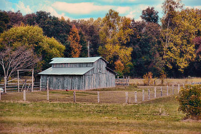 Gray Barn In Autumn Poster by Jai Johnson