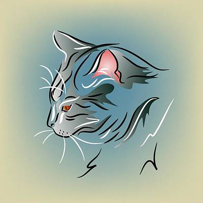 Gray Cat In Profile Poster by MM Anderson