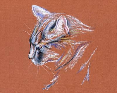 Gray Cat In Profile - Pastel Poster