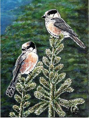 Poster featuring the painting Gray Jays by VLee Watson