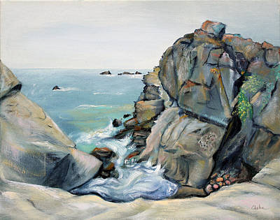 Poster featuring the painting Gray Rocks And Sky At Gerstle Cove by Asha Carolyn Young