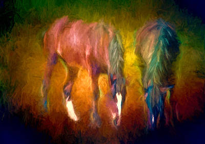 Grazing Horses Version 2 Textured Poster