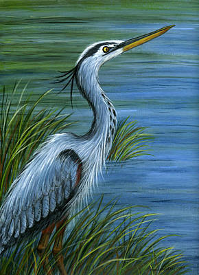 Poster featuring the painting Great Blue Heron by Sandra Estes