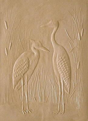 Great Blue Herons Poster by Deborah Dendler