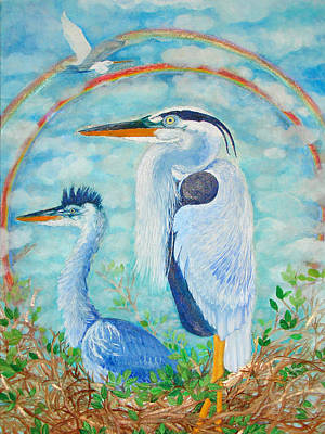 Great Blue Herons Seek Freedom Poster by Ashleigh Dyan Bayer