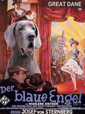 Great Dane Art Canvas Print - Der Blaue Engel Movie Poster Poster