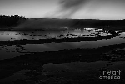 Great Fountain Geyser Black And White Poster by Mark Kiver