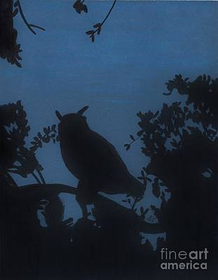 Poster featuring the drawing Owl At Night by D Hackett