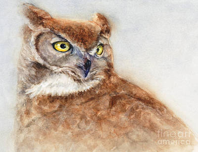 Poster featuring the painting Great Horned Owl by Bonnie Rinier
