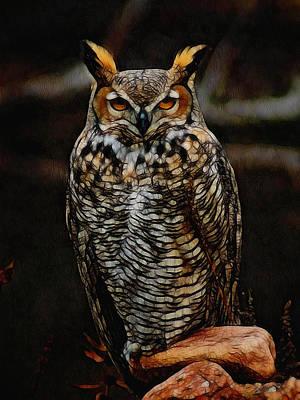 Great Horned Owl Digital Art Poster by Ernie Echols