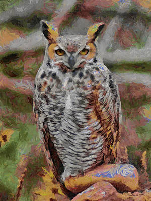 Great Horned Owl Fun 2 Poster by Ernie Echols