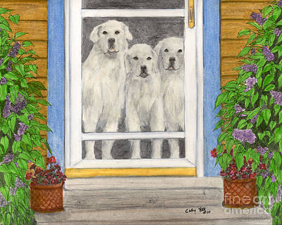 Great Pyrenees Dogs On Porch Animal Pets Art Poster by Cathy Peek
