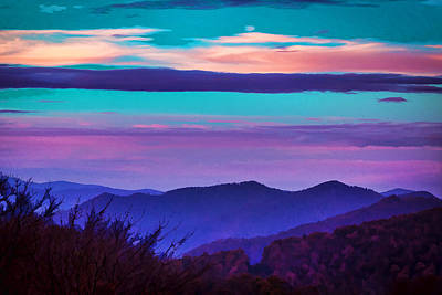 Great Smoky Mountain Sunset Painted Poster