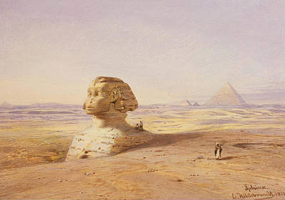 Great Sphinx Of Giza With Pyramids In The Background Poster