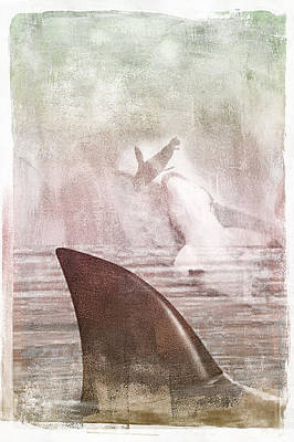 Poster featuring the digital art Great White Attack by Davina Washington