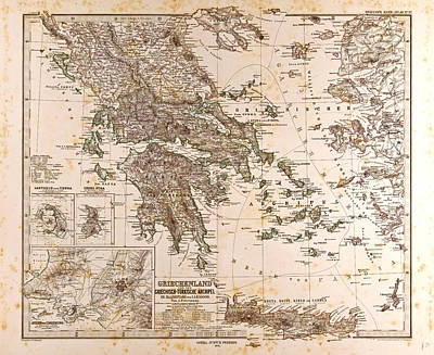 Greece Map 1873 Gotha Justus Perthes 1872 Atlas Poster by Greek School
