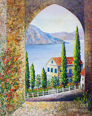 Poster featuring the painting Greek Arch Vista by Lou Ann Bagnall
