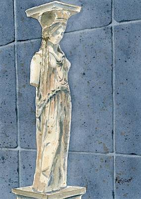Greek Caryatid Poster by Marsha Elliott