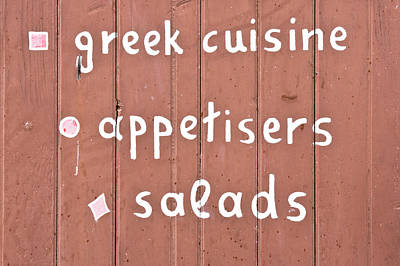 Greek Cuisine Poster by Tom Gowanlock