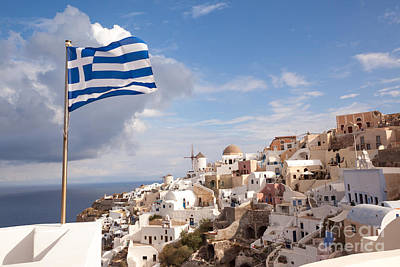 Greek National Flag Waving Over Oia - Santorini - Gr Poster by Matteo Colombo