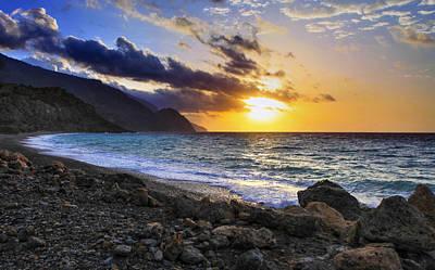 Greek Sunset Poster by Paul Cowan