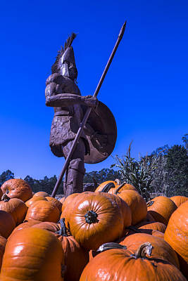 Greek Warrior Among The Pumpkins Poster by Garry Gay
