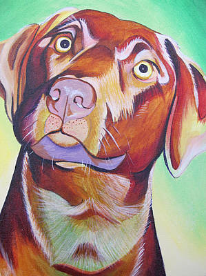 Poster featuring the painting Green And Brown Dog by Joshua Morton