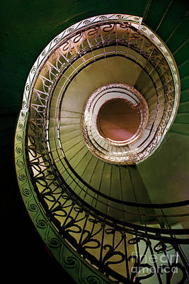 Green And Brown Spiral Staircase Poster by Jaroslaw Blaminsky