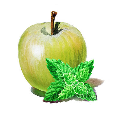 Poster featuring the painting Green Apple And Mint by Irina Sztukowski