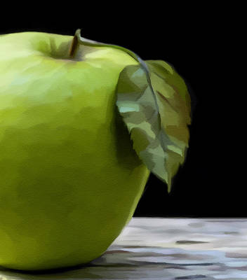 Poster featuring the digital art Green Apple by Nina Bradica